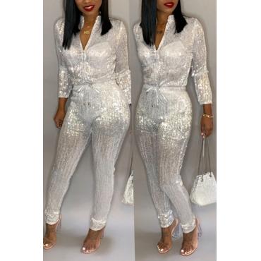 Lovely Trendy  Zipper Design White Blending One-piece Jumpsuit