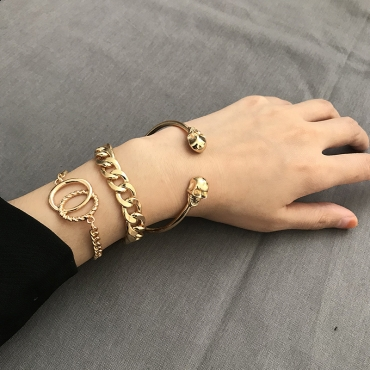 Lovely Punk  Skull Gold Metal Bracelet(Three Pieces Of)