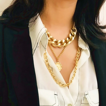 Lovely Punk  Layered Gold Metal  Necklace