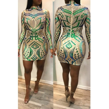 Precioso Vestido De Lentejuelas Con Lentejuelas Y Mezcla De Mini Vestido