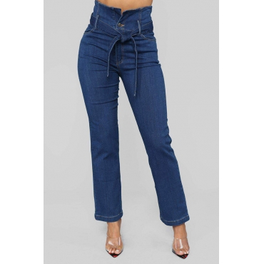 Lovely Trendy Lace-up Deep Blue Cotton Jeans