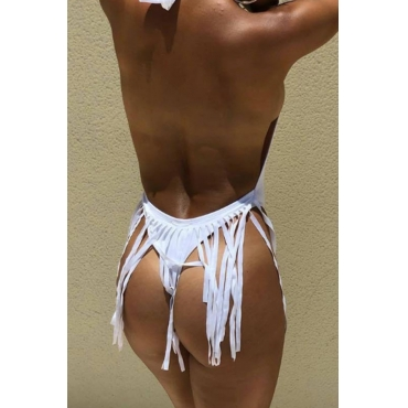 Lovely Sexy Tassel Design White One-piece Swimwears