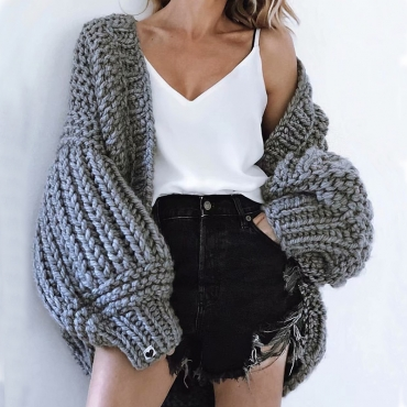 Lovely Casual Puff Sleeves  Deep Grey Cotton Coat