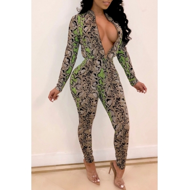 Lovely Trendy  Snakeskin Printed Green Twilled Satin One-piece Jumpsuit