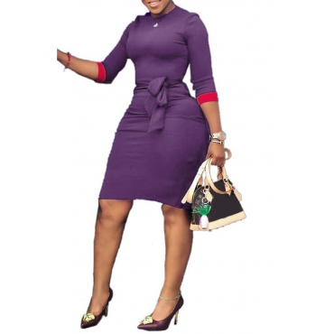 Lovely Casual Patchwork Slim Purple Knee Length Dress
