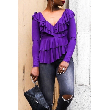 Lovely  Casual  Flounce Design Purple T-shirt