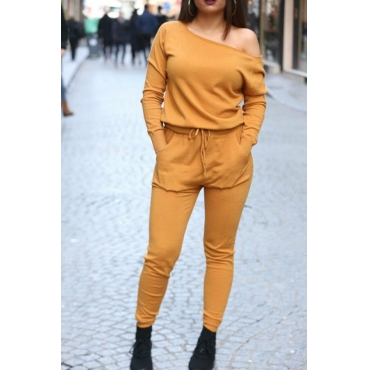 Lovely Casual Lace-up Yellow Blending One-piece Jumpsuit