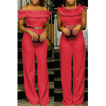 Lovely Casual Patchwork Watermelon Red Twilled Satin One-piece Jumpsuit
