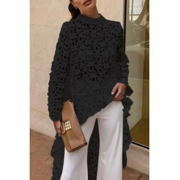 Lovely Trendy Hollowed-out Black Lace Shirts