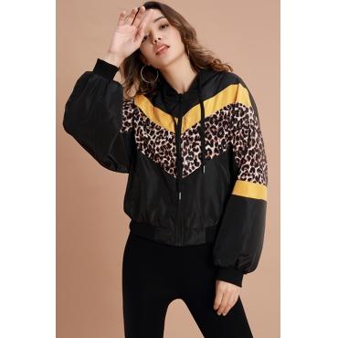 Lovely  Casual Leopard Black Jacket
