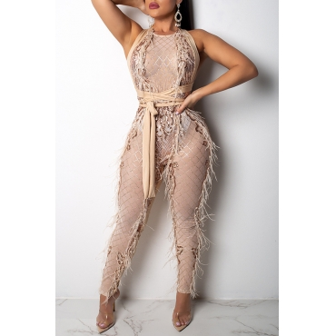 Lovely Casual Tassel Design  Apricot Lace One-piece Jumpsuit