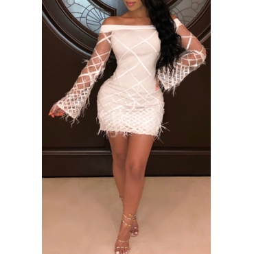Lovely Trendy Trumpet Sleeves White  Blending Mini Dress