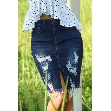 Lovely Trendy  Broken Holes Deep Blue Cotton Blends Knee Length  Skirts