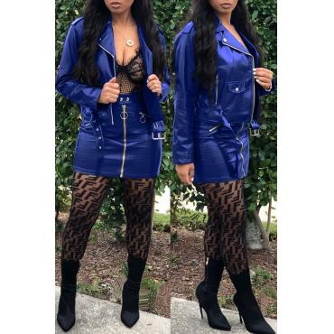 Lovely Chic Zipper Design Blue Two-piece Skirt Set
