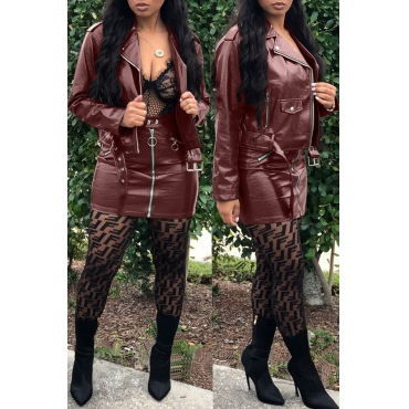 Lovely Chic Zipper Design Wine Red Two-piece Skirt Set