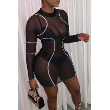 Lovely Sexy See-through Black Knee Length Dress (Without Underwear Set