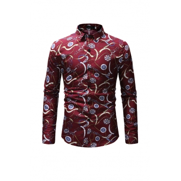 Lovely Casual Printed Red Cotton Blends Shirt