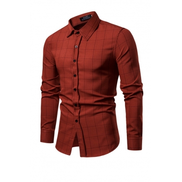 Lovely Trendy Grids Printed Wine Red Cotton Blends Shirt