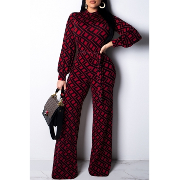 Lovely Trendy Printed Wine Red Blending One-piece Jumpsuit