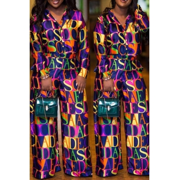 Lovely Trendy Loose Purple Twilled Satin Two-piece Pants Set