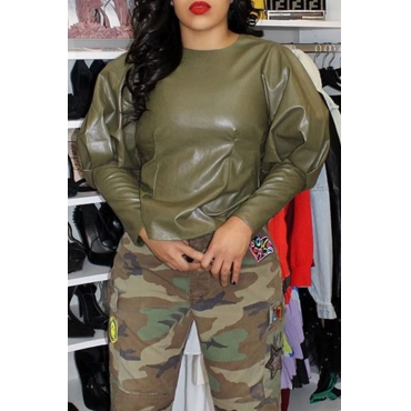 Lovely Casual Puffed Sleeves Army Green PU Shirts