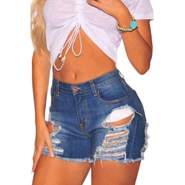 Lovely Casual Broken Holes Blue Denim Shorts
