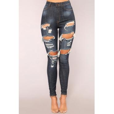 Lovely Trendy Broken Holes Deep Blue Denim Jeans