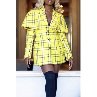 Lovely Trendy Grids Printed Yellow Blending Mini Dress