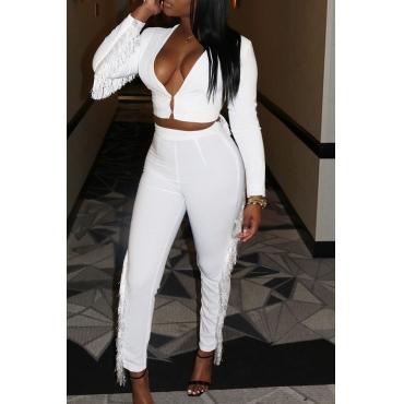 Lovely Trendy Tassel Design White Blending Two-piece Pants Set