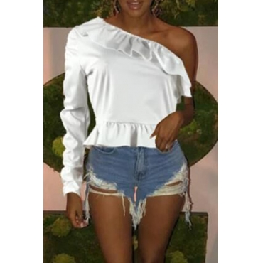 Lovely Trendy Dew Shoulder White Twilled Satin T-shirt