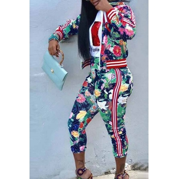 Lovely Casual  Printed Multicolor Cotton Two-piece Pants Set