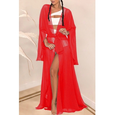 Lovely Casual Long Red Chiffon  CoverUps
