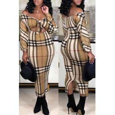 Lovely Trendy Dew Shoulder Multicolor Ankle Length Dress