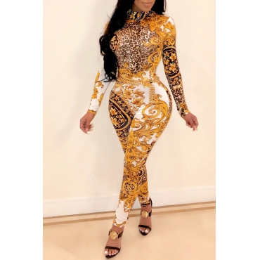 Lovely Casual Printed Yellow Twilled Satin One-piece Jumpsuit