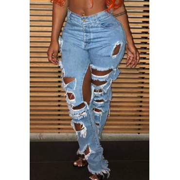 Lovely Casual Broken Holes Baby Blue Denim Jeans