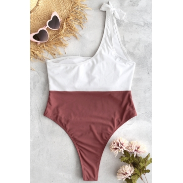 Lovely Casual Patchwork Cameo Brown One-piece Swimwears