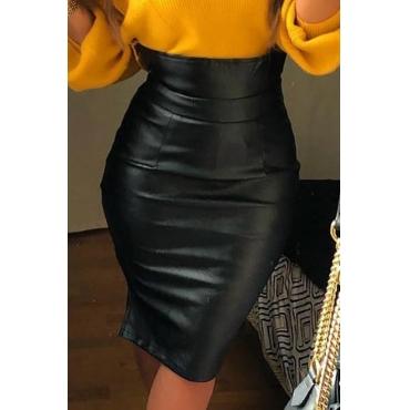 Lovely Trendy Skinny PU Knee Length Skirts