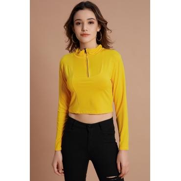 Lovely Casual Zipper Design Yellow Hoodies