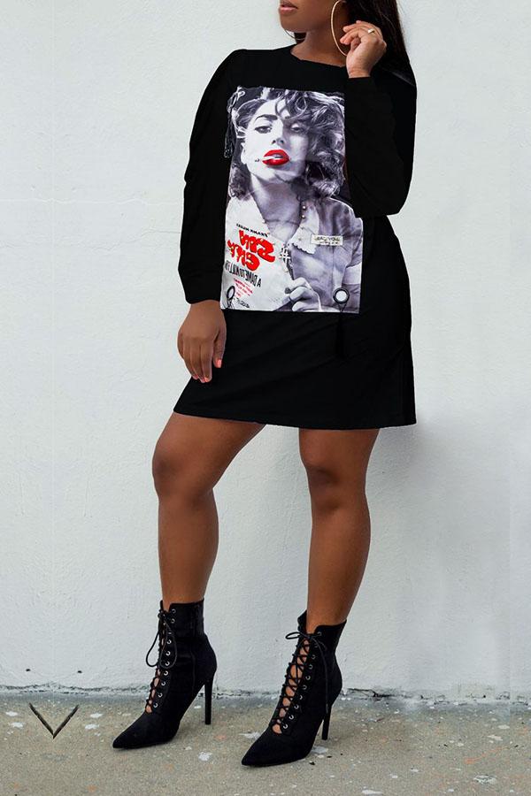 Lovely Casual Printed Black Blending Mini Dress