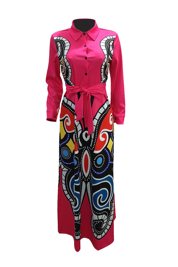 Lovely Casual Printed Rose Red Floor Length Dress