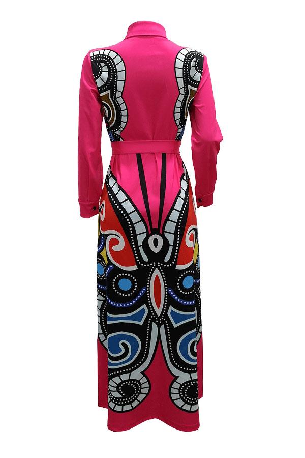 Reizendes Beiläufiges Gedrucktes Rosafarbenes Bodenlangen Kleid