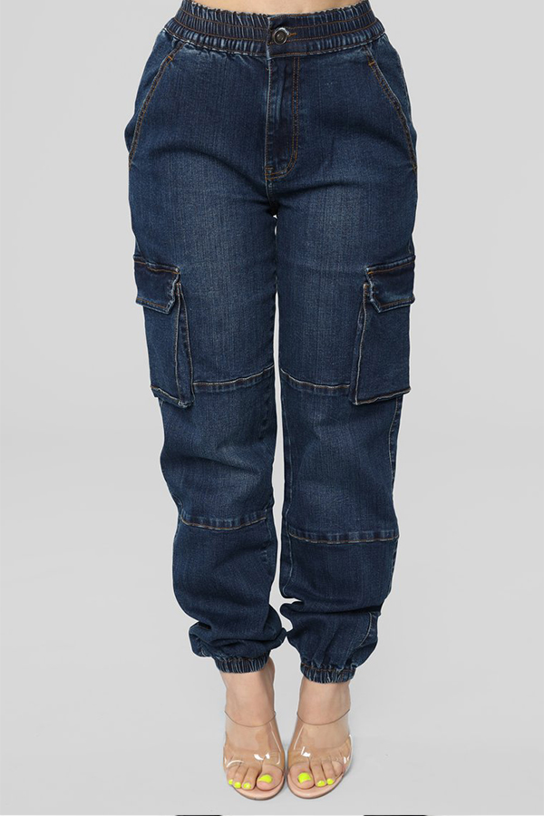 Lovely Trendy Loose Deep Blue Denim Jeans