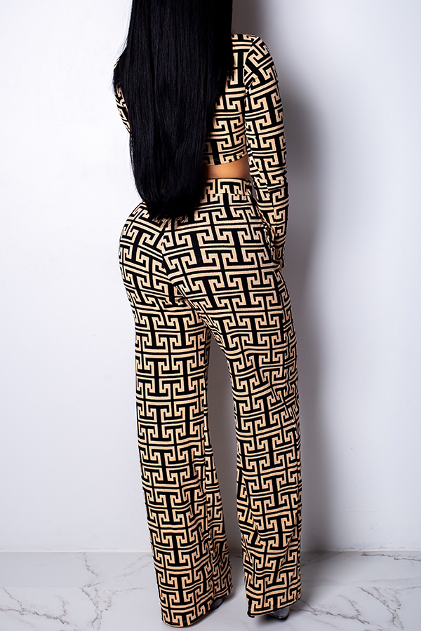 Lovely Casual Printed Loose Khaki Two-piece Pants Set