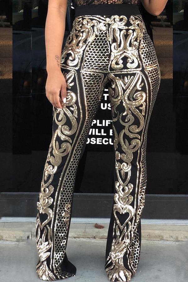 Pantalones De Satén De Twilled Negro Estampados De Moda Encantadores