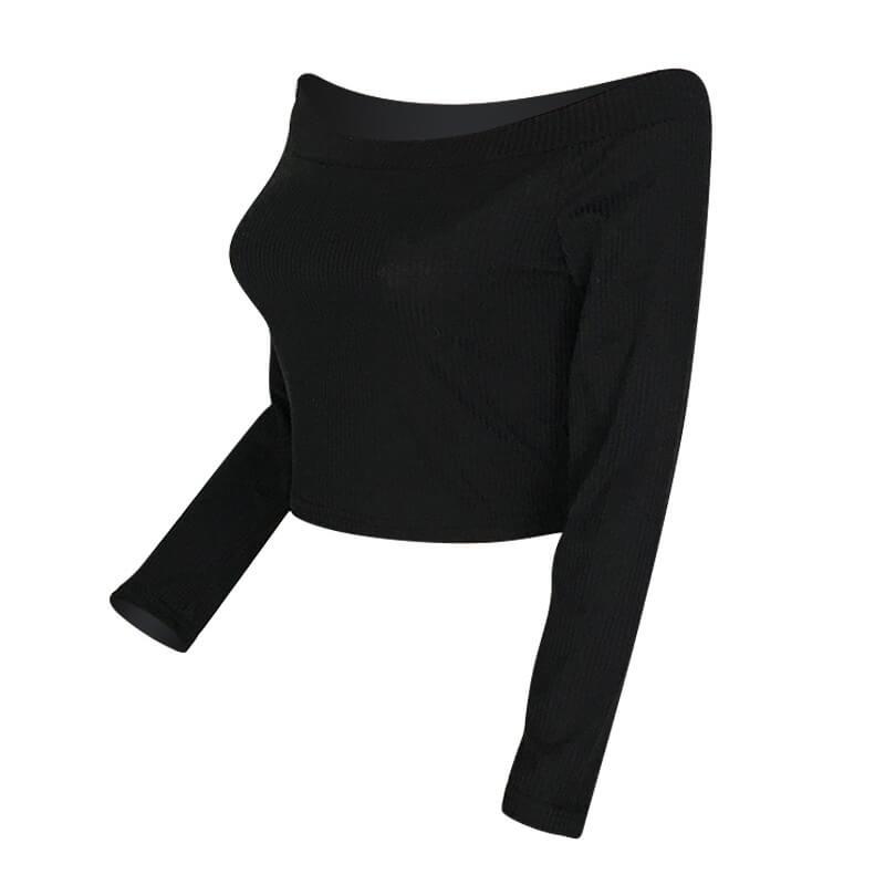 Camiseta Casual Encantadora Del Hombro Del Rocío Negro