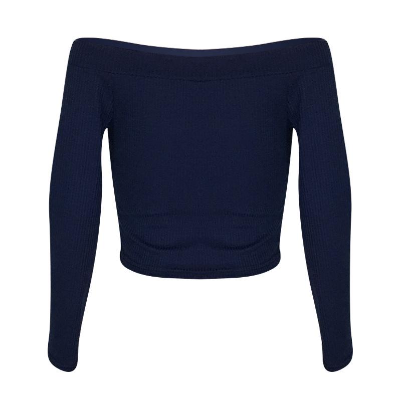Camiseta Casual Azul Oscuro Del Hombro Rocío Encantador