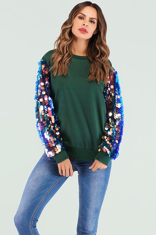 Lovely Casual Sequined Decorative Green Sweatshirt Hoodies