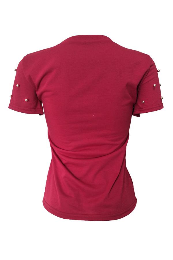 Camiseta Decorativa Con Mezcla De Lentejuelas, Elegante, Elegante, Con Lentejuelas Y Vino.