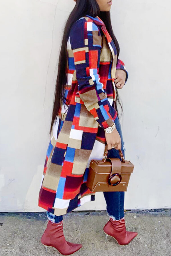 Lovely Trendy Patchwork Red Trench Coats