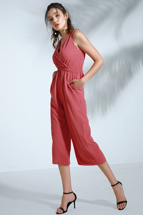 lovelywholesale / Lovely Trendy Loose Watermelon Red One-piece Jumpsuit